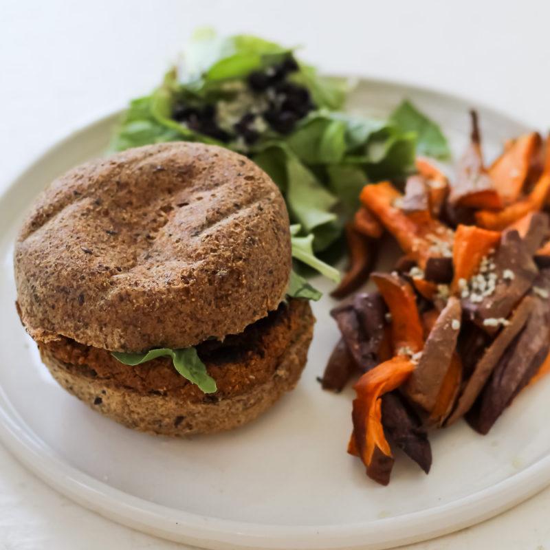 Meg De Jong Nutrition vegan bean burger