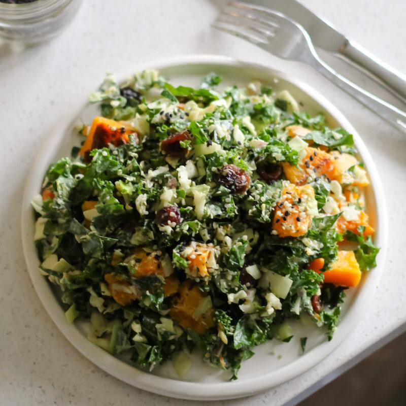Meg De Jong Nutrition Kale Butternut squash salad